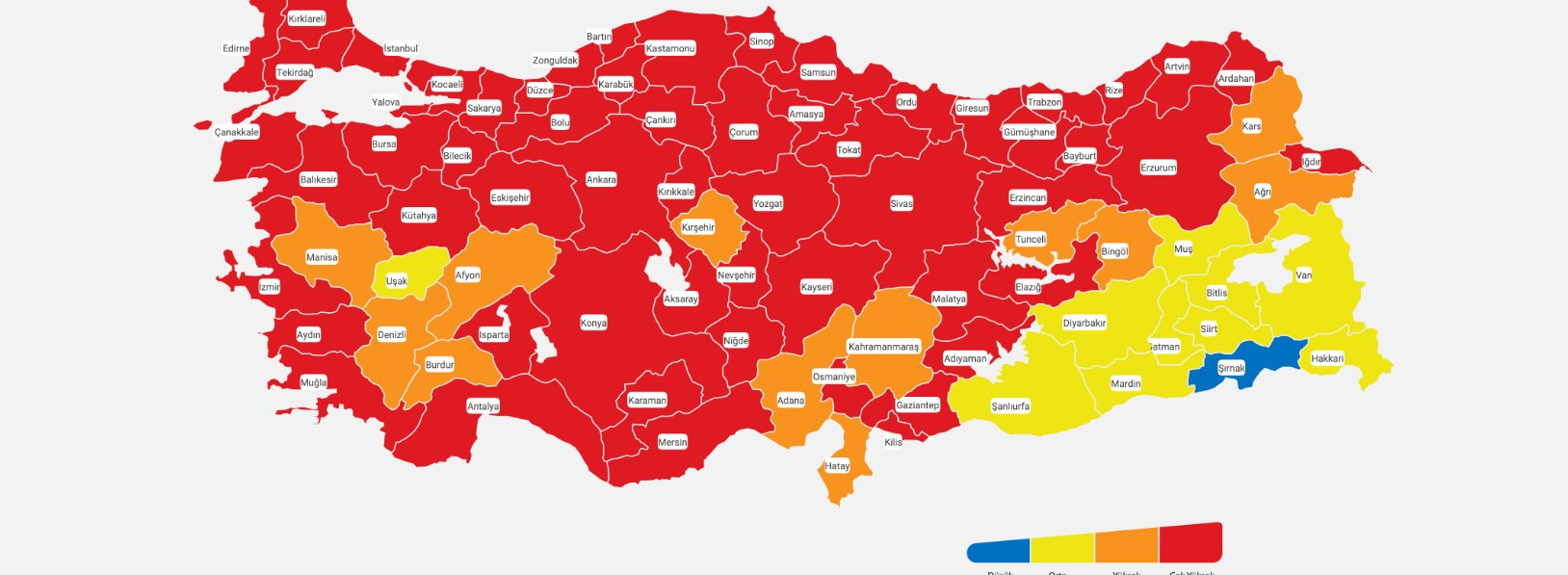 Güncellenen Türkiye Kovid-19 risk haritası açıklandı…